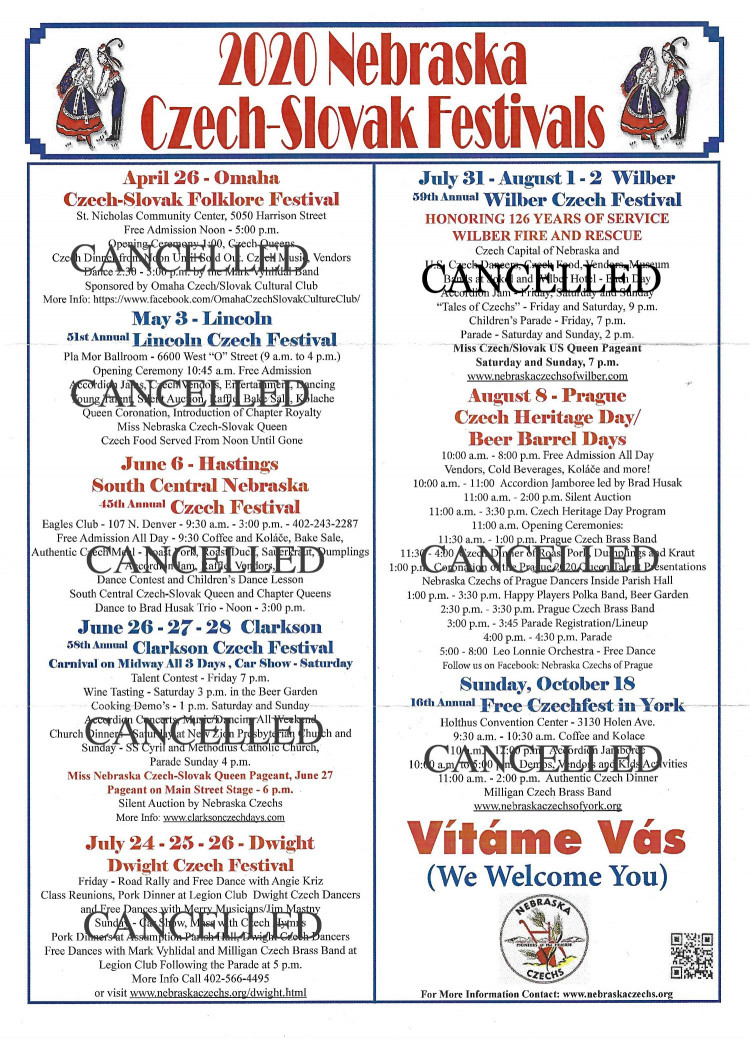 Cancelled - - - 2020 Nebraska Czech-Slovak Festivals