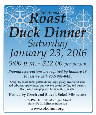 13th Annual Candlelight Roast Duck Dinner (Czech / Slovak) 2016 Minnesota