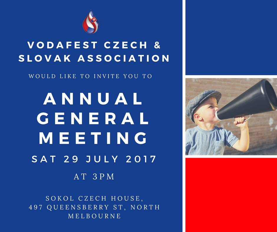 Annual General Meeting of VodaFest - Czech and Slovak Association Inc. Melbourne 2017