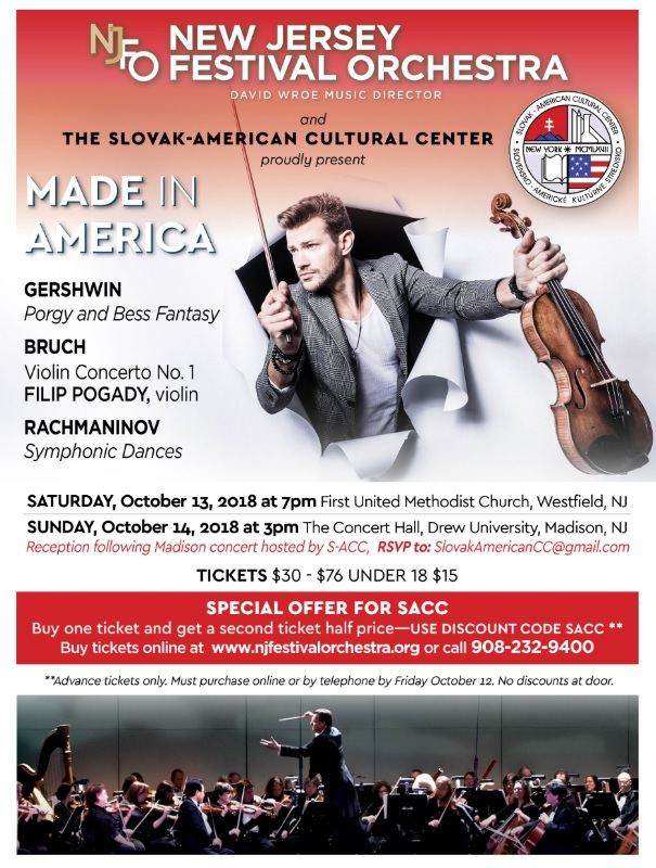 Concerts featuring Slovak violinist Filip Pogady and New Jersey Festival Orchestra  2018 New Jersey