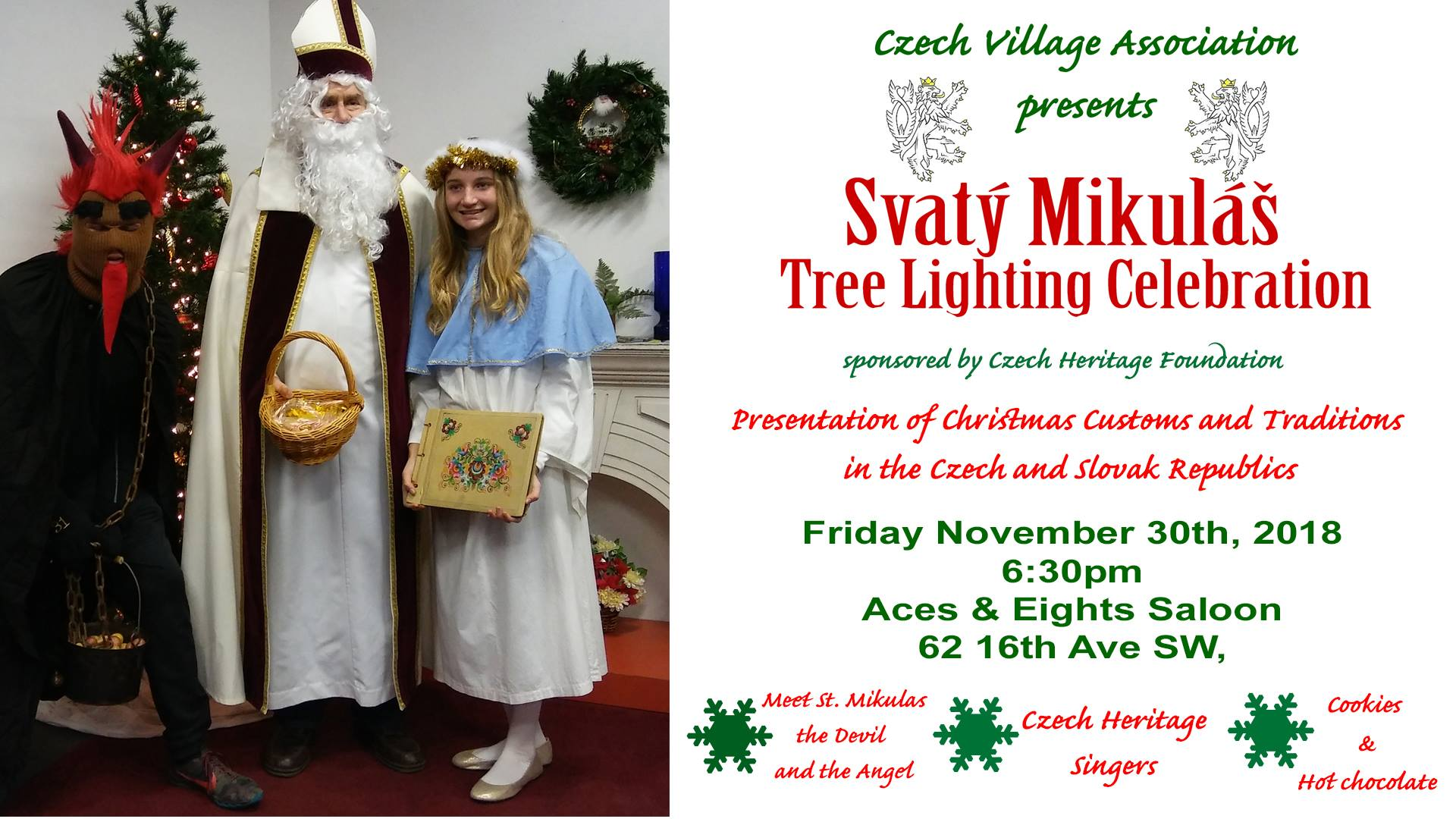 Svaty Mikulas Celebration and Tree Lighting 2018 Cedar Rapids